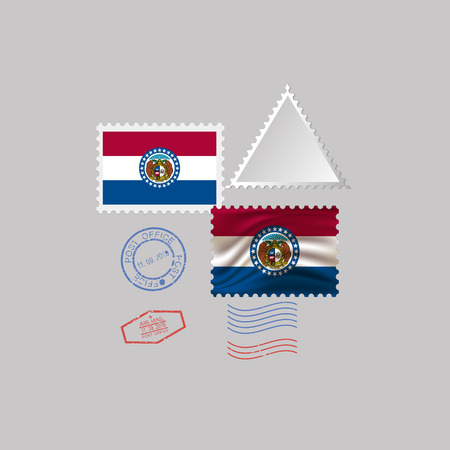 Postage stamp with the image of Missouri state flag. Hawaii Flag Postage on gray background with shadow. Vector Illustration. Ilustrace