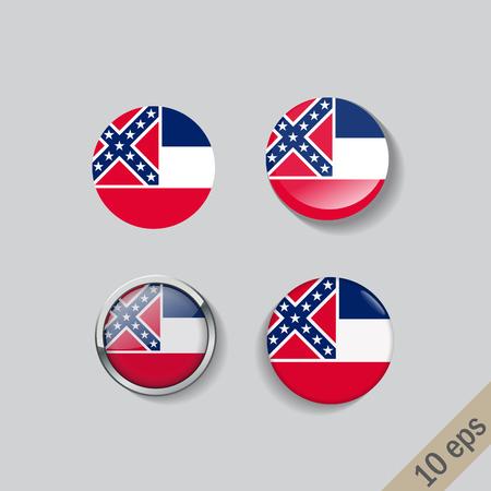 Ensemble de boutons de verre du drapeau du Mississipi. Illustration vectorielle. Vecteurs