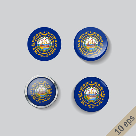Set of New Hampshire flag glass buttons.Vector illustration.