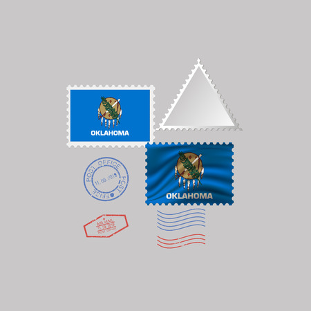 Postage stamp with the image of Oklahoma state flag. Hawaii Flag Postage on gray background with shadow. Vector Illustration.