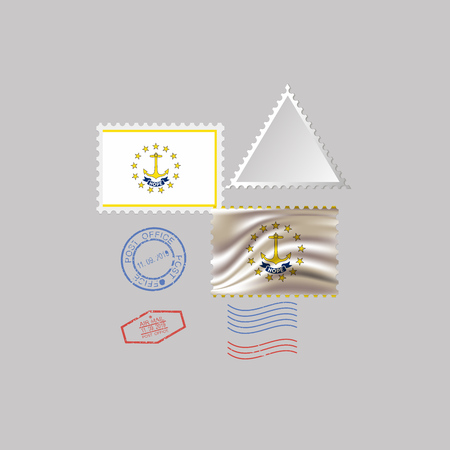 Postage stamp with the image of Rhode Island state flag. Hawaii Flag Postage on gray background with shadow. Vector Illustration. Archivio Fotografico - 125292721