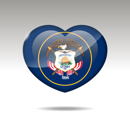 Love Utah state symbol. Heart flag icon. Vector illustration.