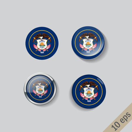 Set of Utah flag glass buttons.Vector illustration.