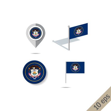 Map pins with flag of Utah . Navigation icons. 10 eps