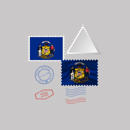 Postage stamp with the image of Wisconsin state flag. Hawaii Flag Postage on gray background with shadow. Vector Illustration. Archivio Fotografico - 125292725