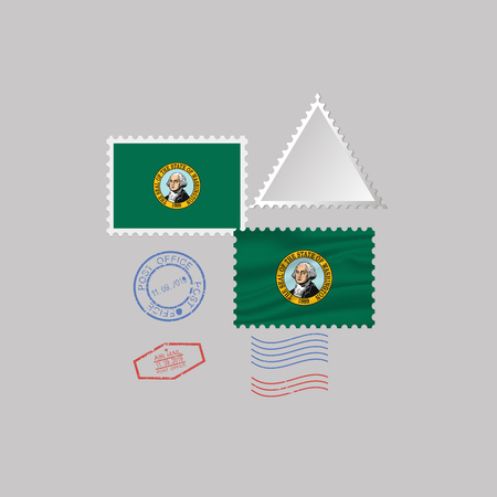 Postage stamp with the image of Washington state flag. Hawaii Flag Postage on gray background with shadow. Vector Illustration.