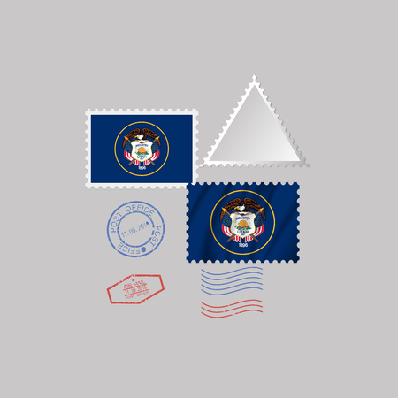 Postage stamp with the image of Utah state flag. Hawaii Flag Postage on gray background with shadow. Vector Illustration.