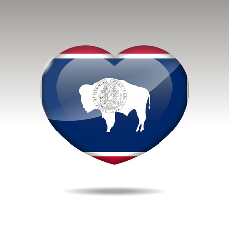Love Wyoming state symbol. Heart flag icon. Vector illustration.