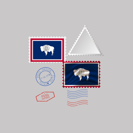 Postage stamp with the image of Wyoming state flag. Hawaii Flag Postage on gray background with shadow. Vector Illustration.