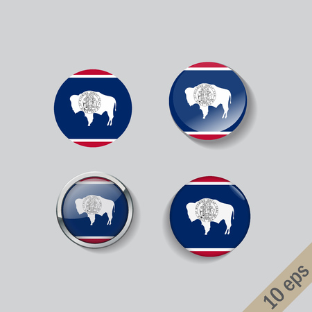 Set of Wyoming flag glass buttons.Vector illustration.