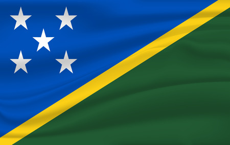 Realistic waving flag of Solomon Islands, the Waving Flag of Solomon Islands, high resolution Fabric textured flowing flag Illusztráció