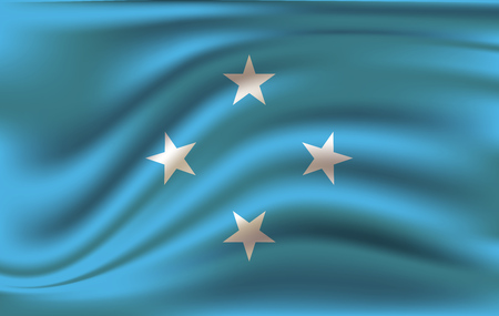 Realistic waving flag of Micronesia, the Waving Flag of Micronesia, high resolution Fabric textured flowing flag