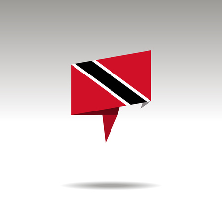 TRINIDAD AND TOBAGO paper flag 3d realistic speech bubble on white background