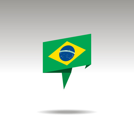 graphic representation of the location designation in the origami style with a flag BRAZIL on a gray background Ilustração