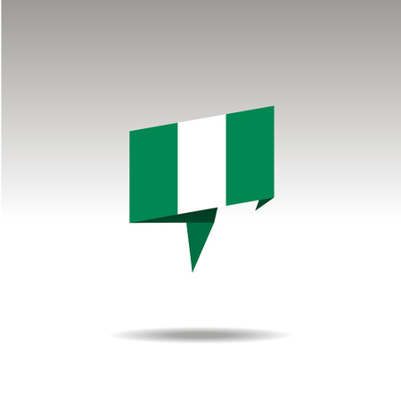 NIGERIA paper flag 3d realistic speech bubble on white background