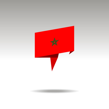 MOROCCO paper flag 3d realistic speech bubble on white background Illustration