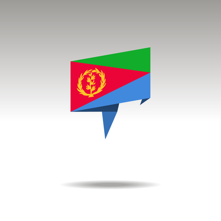 ERITREA paper flag 3d realistic speech bubble on white background