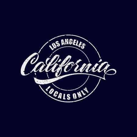 Vintage Hand lettered textured Los Angeles California Locals Only t shirt apparel fashion print. Custom type design. Hand drawn typographic composition. Hand crafted wall decor art poster.