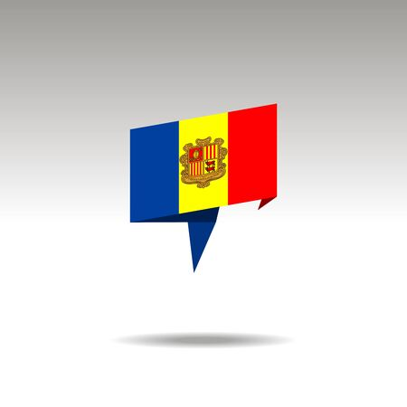 ANDORRA paper flag 3d realistic speech bubble on white background  イラスト・ベクター素材