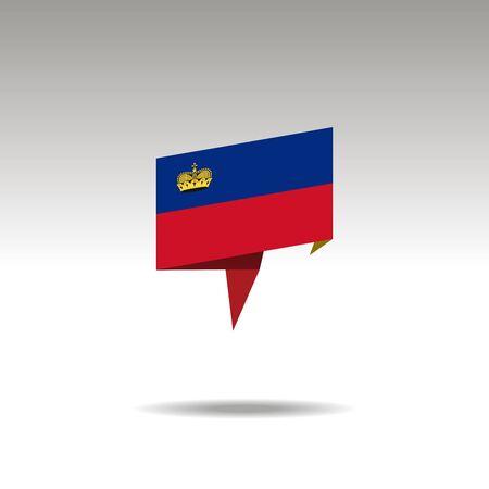 LIECHTENSTEIN paper flag 3d realistic speech bubble on white background