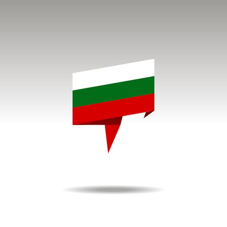 BULGARIA paper flag 3d realistic speech bubble on white background
