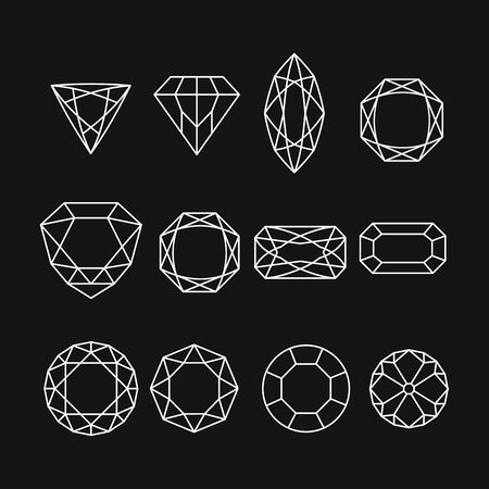 Set of isolated gem stones and thin line design elements, emblems with diamonds. 10 eps