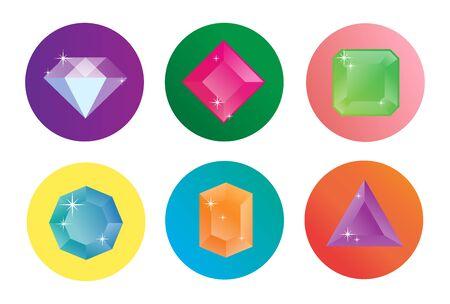 Ensemble d'icônes vectorielles en diamant.