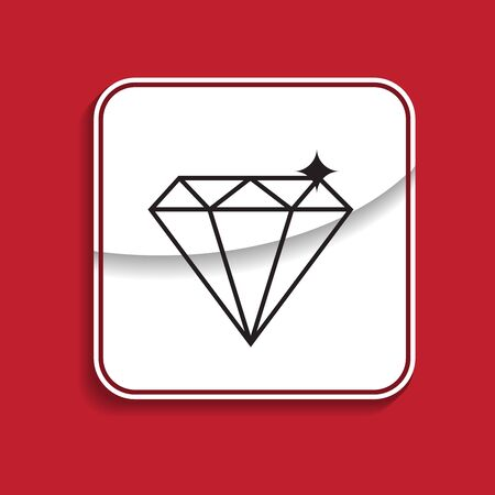Diamond badge. Internet button on red background.