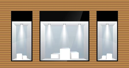 three shop Windows with lighting. Vector Иллюстрация