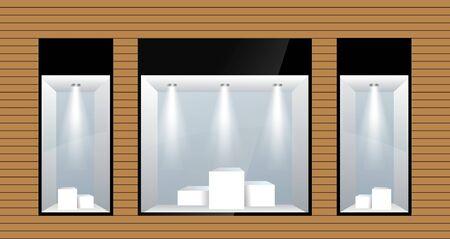 trois vitrines avec éclairage. Vecteur