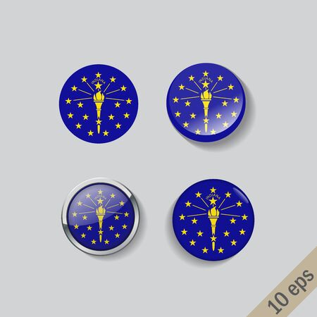 Set of Indiana flag glass buttons.Vector illustration.
