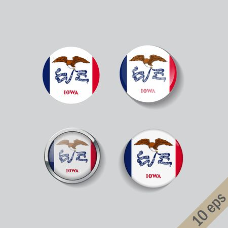 Set of Iowa flag glass buttons.Vector illustration.