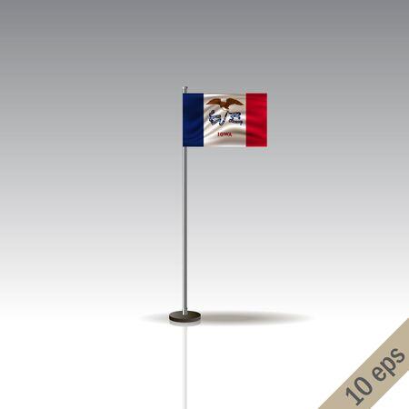 Iowa vector flag template. Waving Hawaiian flag on a metallic pole, isolated on a gray background. 10 eps Illustration