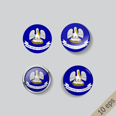 Set of Louisiana flag glass buttons.Vector illustration.