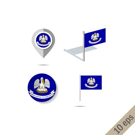 Map pins with flag of Louisiana . Navigation icons. 10 eps  イラスト・ベクター素材