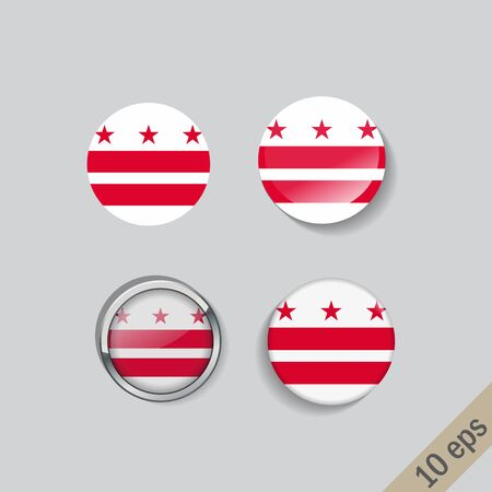 Set of District of Columbia flag glass buttons.Vector illustration.