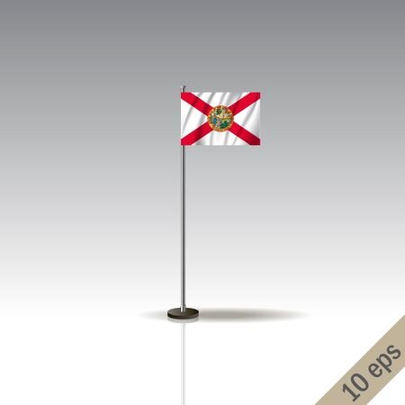 Florida vector flag template. Waving Hawaiian flag on a metallic pole, isolated on a gray background.