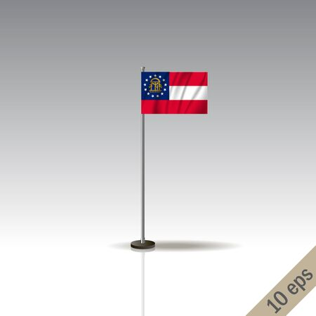 Georgia vector flag template. Waving Hawaiian flag on a metallic pole, isolated on a gray background. 10 eps  イラスト・ベクター素材