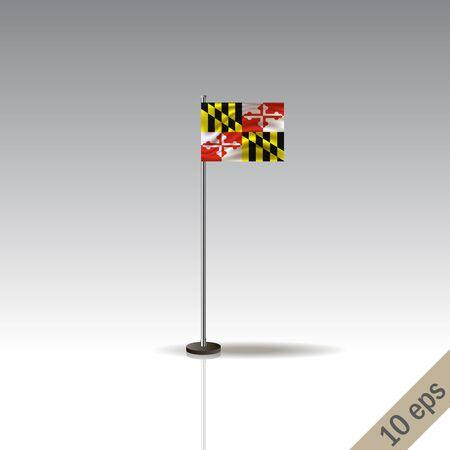 Maryland vector flag template. Waving Hawaiian flag on a metallic pole, isolated on a gray background. 10 eps