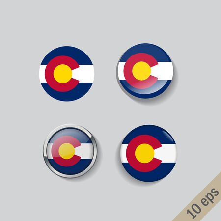 Set of COLORADO flag glass buttons.Vector illustration.