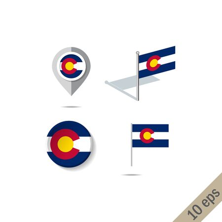 Map pins with flag of COLORADO . Navigation icons. Illustration