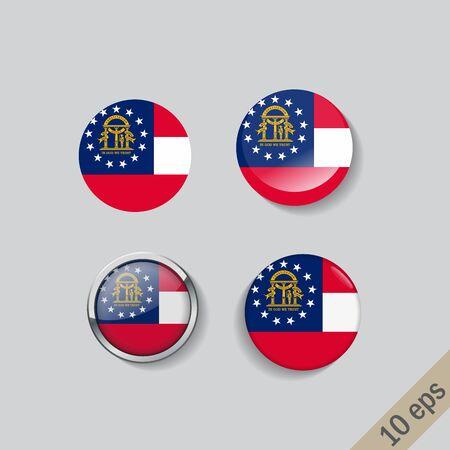 Set of Georgia flag glass buttons.Vector illustration. Illustration