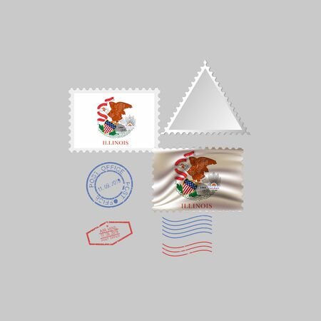 Postage stamp with the image of Illinois state flag. Hawaii Flag Postage on gray background with shadow. Vector illustration.