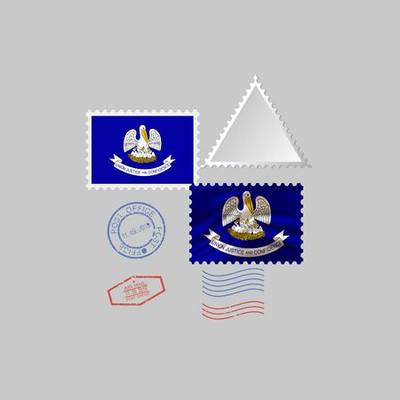 Postage stamp with the image of Louisiana state flag. Hawaii Flag Postage on gray background with shadow. Vector Illustration.
