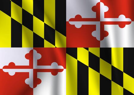 Waving Flag of Maryland is a state of USA. Vector illustrationWaving Flag of Maryland is a state of USA. Vector illustration