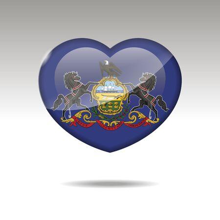 Love Pensilvania state symbol. Heart flag icon. Vector illustration. Stock Illustratie