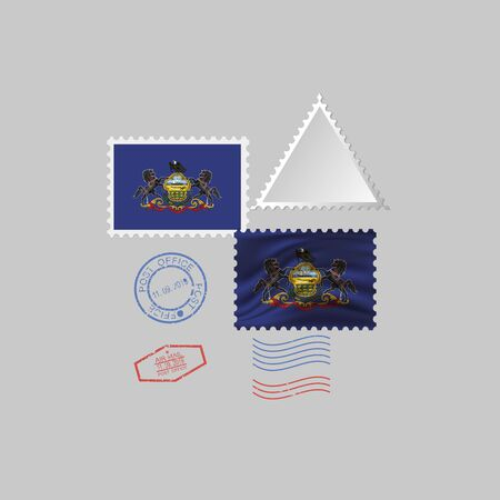Postage stamp with the image of Pensilvania state flag. Hawaii Flag Postage on gray background with shadow. Vector Illustration.