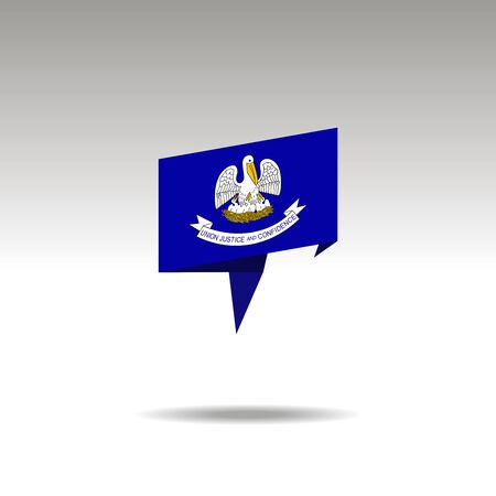 Louisiana paper flag 3d realistic speech bubble on white background
