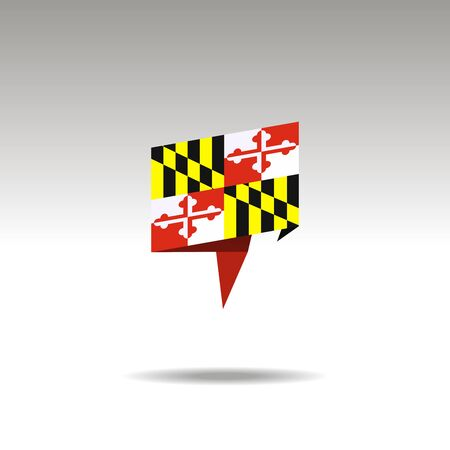 Maryland paper flag 3d realistic speech bubble on white background