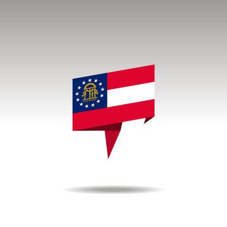 Georgia paper flag 3d realistic speech bubble on white background Illustration